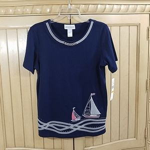 Alfred Dunner Top w/Sailboats, sz Small